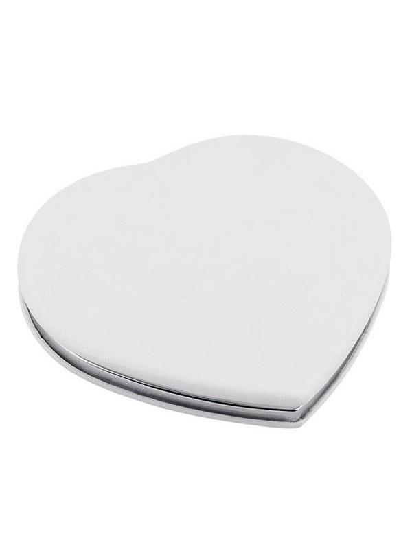 Компактно джобно огледало Classic Heart - бяло с възможност за гравиране