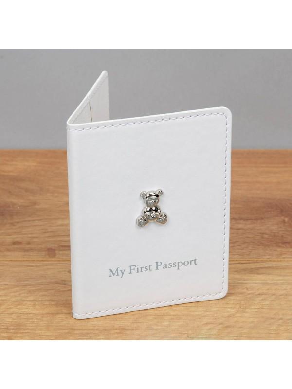 Комплект бебешки кълъф за първи паспорт и етикет за багаж - Бял