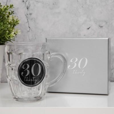 """Халба за бира с 3D с надпис - """"30"""" с обем 568мл."""