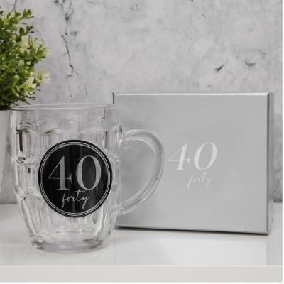 """Халба за бира с 3D с надпис - """"40"""" с обем 568мл."""