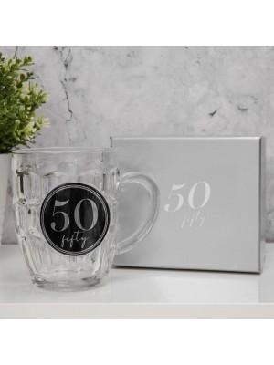 """Халба за бира с 3D с надпис - """"50"""" с обем 568мл."""