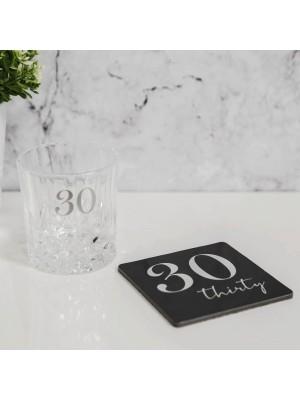 """Чаша за уиски с 3D надпис - """"30"""""""
