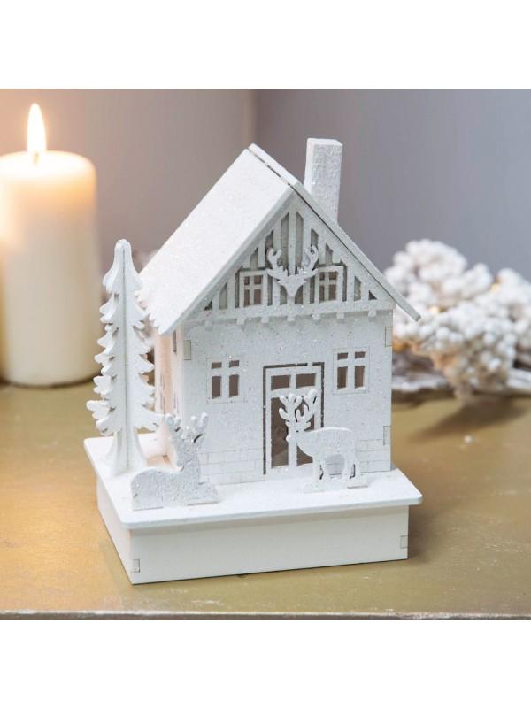 Коледна LED къща с бял блясък