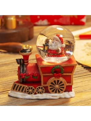 Ръчно рисуван коледен влак и малък глобус