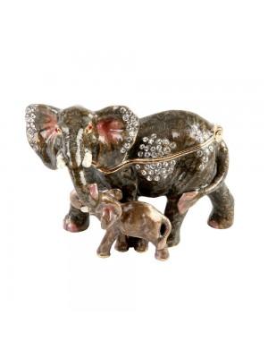 Кутия за бижута Слон с малко слонче
