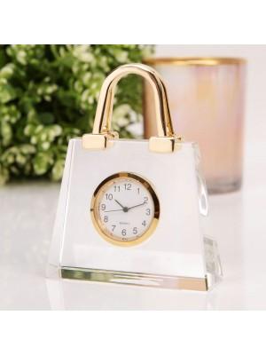 """Красив колекционен миниатюрен часовник """"Дамска чанта"""" от прозрачно стъкло и позлата"""