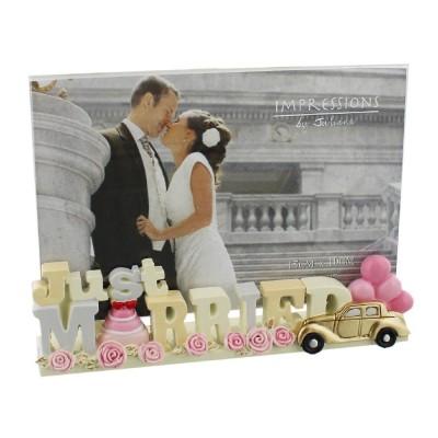 """Прекрасна фоторамка """"Just Married"""" за снимка с размер 15x 10см."""
