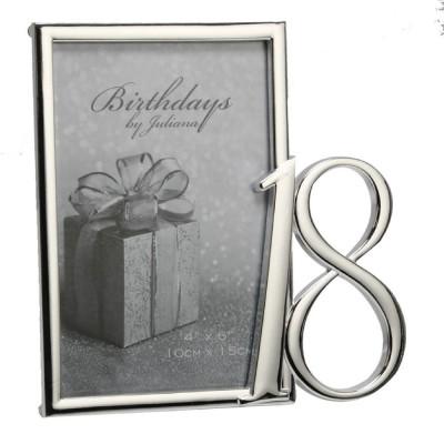 Фоторамка със сребърно покритие за 18-ти рожден ден за снимка с размер 10х15см и възможност за гравиране.
