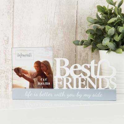 """Очарователна фоторамка за за снимка с размер 9 x 9см с бял изрязан надпис """"Най-добри приятели"""""""