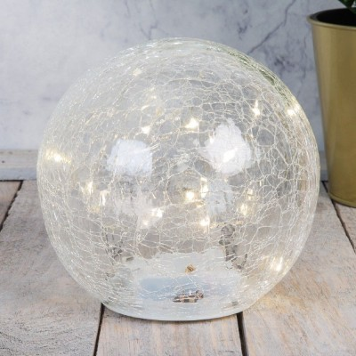 Стъклена светеща лампа от прасковено стъкло 14.5см.