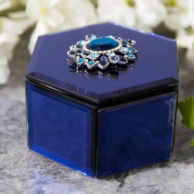 Бляскава стъклена кралско синя кутия за бижута