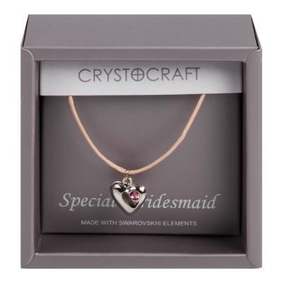 """Красива огърлица """"специална шаферка"""" с розов кристал от Swarovski®."""