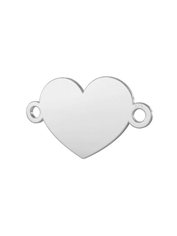 Гривна с червен конец и сребърен елемент - Сърце с включено гравиране