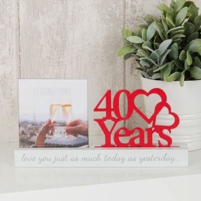 """Очарователна фоторамка за рубинена годишнина за снимка с размер10x10см с надпис """"40 години"""""""