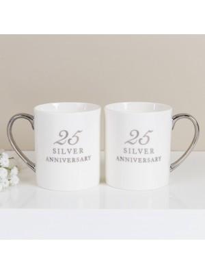 """Красив подаръчен комплект чаши за """"25-годишнина"""""""