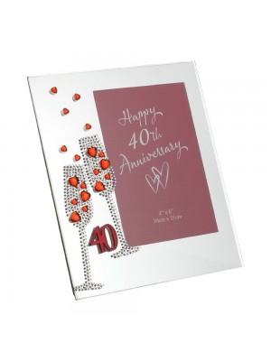 Стъклена сватбена фоторамка за рубинена годишнина снимка с размер 10х15см.