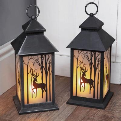 Коледен LED фенер със силует на елени