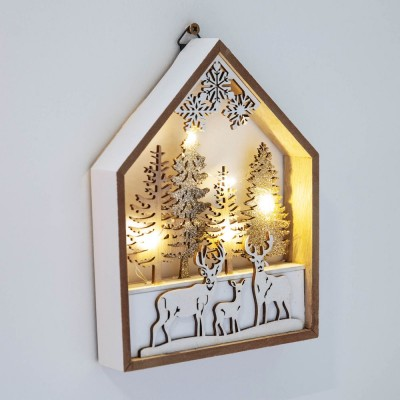 Светеща LED дървена къща