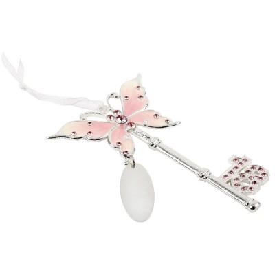 Ключ с розова пеперуда за 18-я рожден ден с възможност за гравиране