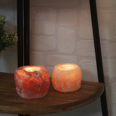 Комплект от 2 броя свещника от Хималайска каменна сол
