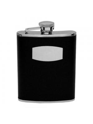 Плоско джобно метално шише за алкохол с кожена облицовка