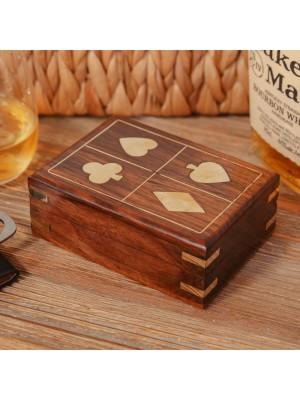 Луксозна дървена кутия с карти за игра