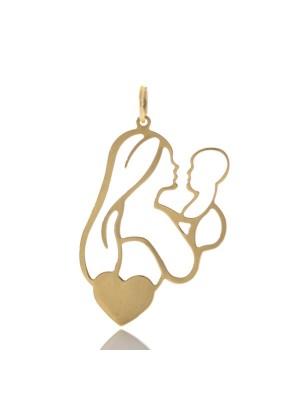 Златна висулка с включено гравиране - Мама с бебе