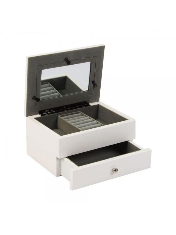 Бяла кутия за бижута с чекмедже и място за снимка