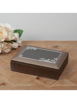 Дървена кутия за бижута с рисувани елементи Sophia