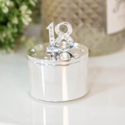 Кутия за бижута със сребърно покритие и кристали 18