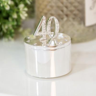 Кутия за бижута със сребърно покритие и кристали 40