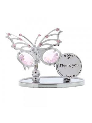 Красива статуетка с пеперуда, надпис Благодаря и кристали Swarovski