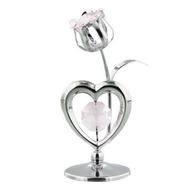 Хромирано лале със сърце с кристали Swarovski
