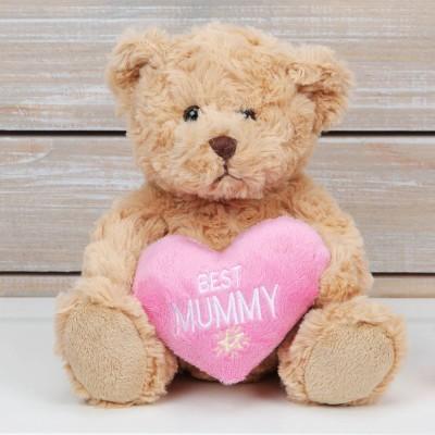 Плюшено мече с розово сърце Best Mommy