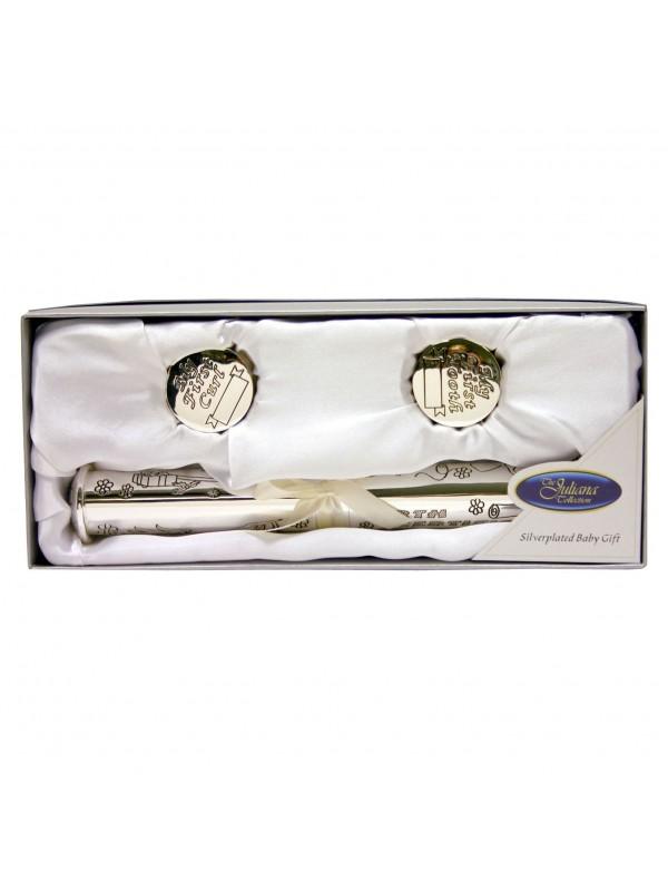 Цилиндър за съхранение на сертификат от раждане със сребърно покритие и кутийки за зъбче и косичка