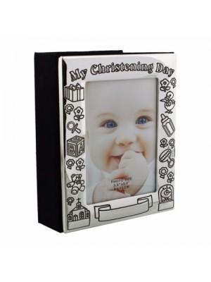 Фотоалбум за кръщене със сребърно покритие