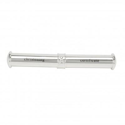Цилиндър за съхранение на сертификат от раждане или кръщене със сребърно покритие