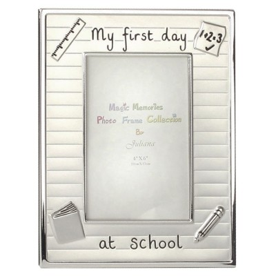 """Фоторамка със сребърно покритие """"Моят първи ден от училище"""" 10х15см"""
