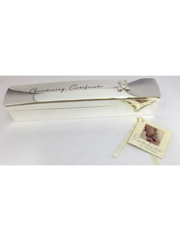 Кутийка за съхранение на сертификат от раждане или кръщене със сребърно покритие Bambino
