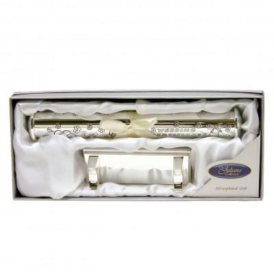 Цилиндър за съхранение на сватбен сертификат и стойка със сребърно покритие