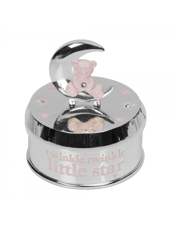 Музикална кутия със сребърно покритие с мече и луна - розово