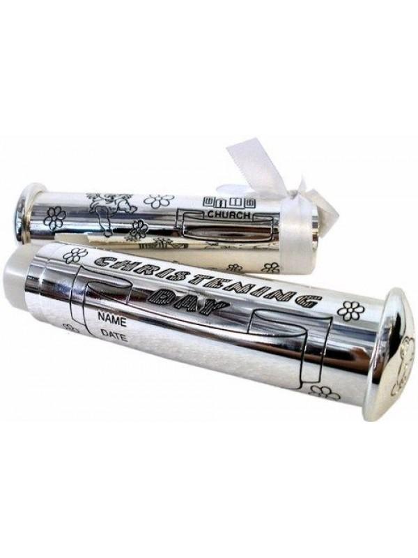 Цилиндър за съхранение на сертификат от кръщене със сребърно покритие