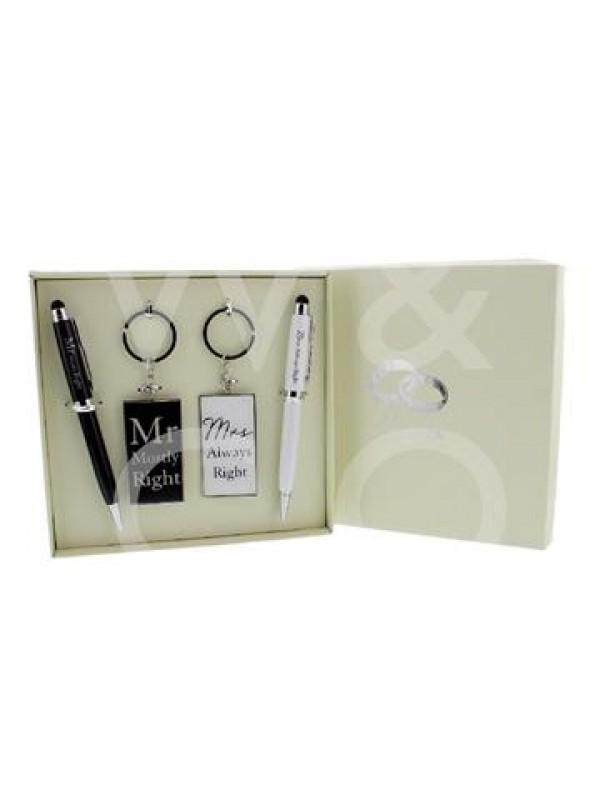 Красив комплект ключодържател и писалка 'Mr & Mrs'