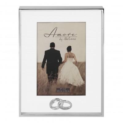 Сватбена фоторамка със сребърно покритие 10х15 см