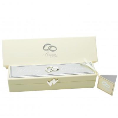 Кутия за сватбен сертификат със сребърно покритие