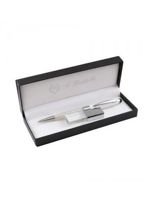 Комплект с химикалка с кристали и USB