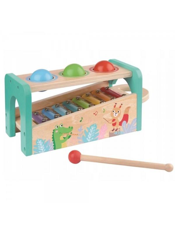 Музикален свят - ксилофон с чукче и топки за бебе